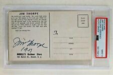 Jim Thorpe (d.1953) HOF Athlete Autograph Rare 3x5 1951 Postcard PSA Authentic