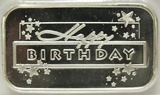 Happy Birthday .999 Silver Art Bar Medal Ingot - 1 oz Troy - Great Gift BDay