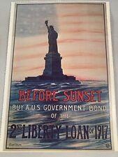 Us Liberty Bond 1917 Poster Image Postcard Statue Of Liberty Wwi Before Sunset