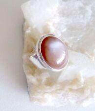 Ring mit Schoko Mondstein, 925er Silber, Gr. 18,8 - echt - Braun