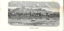 Stampa antica COIMBRA veduta panoramica Portugal 1889 Old Print Gravura antiga