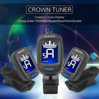 Clip-on Digital Crown LCD Tuner for Classic Folk Acoustic Guitar Chromatic