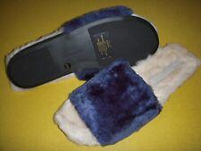 Lori Goldstein Collection Dillian Faux Fur Slides Slippers Women's 11 M Blue ~