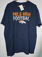 Majestic NFL Denver Bronco's Mile High Football Men's T-Shirt XL Blue  NWT