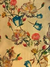 Remnant 1 mt Roses on Gold Silky Polyester 3% Spandex fabric draping 145 cm wd
