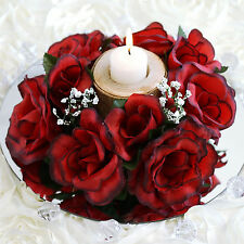 8 Black and Red CANDLE RINGS with SILK ROSES Wedding Flowers for Centerpieces