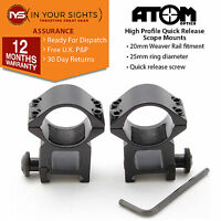 25mm /1 inch Quick release high profile rifle scope mounts to fit weaver rails