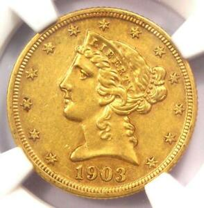 1903 PROOF Liberty Gold Half Eagle $5 Coin - NGC Proof AU Detail (PR/PF) - Rare!