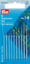 10 Aghi da Rammendo Corti con Cruna Oro misura da 1 a 9 Assoriti Prym 124663