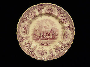 RARE ELKIN KNIGHT & CO. 'HANNIBAL PASSING THE ALPS' MULBERRY PLATE - CIRCA 1825