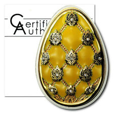 Cook Islands Imperial Faberge Egg in Yellow Cloisonné  $5 2010 Proof Silver Crow