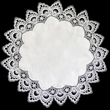 """Beautiful Embroidered 24"""" Round White Lace with White Jaquard Center Doily"""