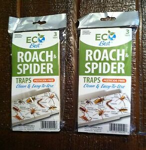 Roach spider Insect glue traps 6 traps w/attractant EcoBest pesticide free