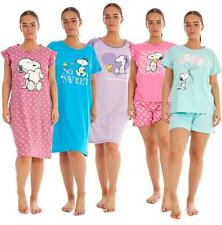 Ladies Snoopy Shorty set 100% Soft Cotton Nightdress Short Sleeve PJs by Peanuts