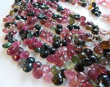 "4"" WATERMELON TOURMALINE faceted gem stone heart briolette beads 7mm - 8mm multi"
