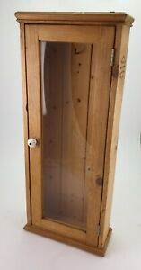 Vintage Wall Mounted Pine Display Cabinet