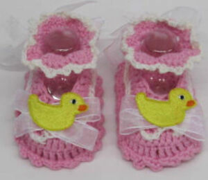 Baby Girls Pink Booties Pram shoes white yellow Duck First handmade crochet