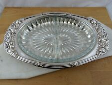 Vintage Ranleigh Silver Plated Serving Tray / Platter with Divided Glass Insert