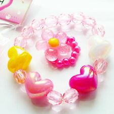 little girls strechy Hearts beads bracelet & flower ring set childrens kids