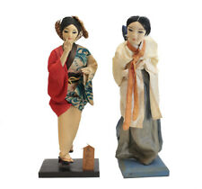 2pc Mid Century Japanese and Korean Ningyo 'Geisha' Silk face dolls