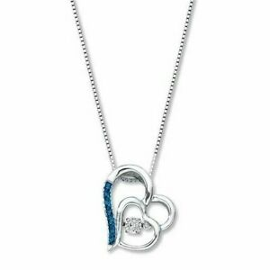 Unstoppable Love 1/15 ct tw Diamond Necklace Sterling Silver Hearts Blue