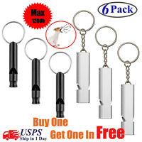 6PCS Emergency Survival Whistle Outdoor Camping Training Key Chain SOS EDC Tools