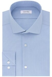 """Calvin Klein Men's Dress Shirt Slim Fit Non Iron Stretch Solid French Blue 15"""""""