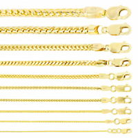 """14K Yellow Gold Solid 0.9mm-6mm Round Box Franco Chain Pendant Necklace 16""""- 30"""""""