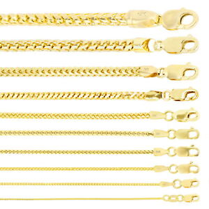 "14K Yellow Gold Solid 0.9mm-6mm Round Box Franco Chain Pendant Necklace 16""- 30"""