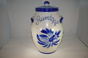 4 Liter Rumtopf grau blau, handbemalt, echte Salzglasur