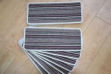 14 Open Plan Carpet Stair Treads Fancy Stripe Purple Large Striped Stair Pads