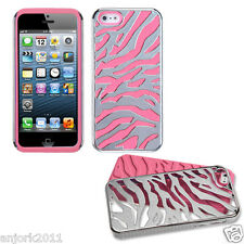 APPLE iPHONE 5 ZEBRA FUSION HYBRID CASE SKIN COVER ACCESSORY SILVER/BABY PINK
