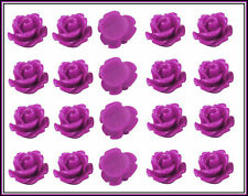 Resin Cabochons 20 Purple Roses Retro Flowers 10mm