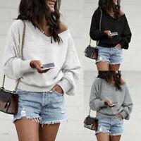 Women Lantern Sleeve V-Neck Casual Sweatshirt Pullover Basic Top Blouse Tunic UK