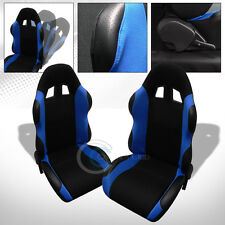 2X UNIVERSAL TS BLK/BLUE CLOTH LEATHER RECLINABLE RACING BUCKET SEATS+SLIDER C07