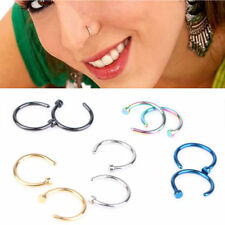 5pcs Thin 316L Surgical Steel Open Nose Hoop Ring Piercing Stud Body Jewellery