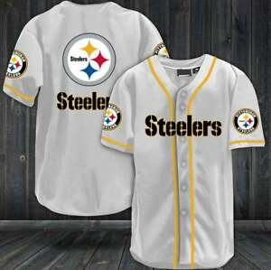 Pittsburgh Steelers Baseball Shirt Football Button-Down Tee Top Uniforms
