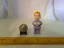 HARD TO FIND 1/6 SCALE DOLLHOUSE BABY DOLL 2-1/2 IN TALL HEAD & HIPS MOVE PURPLE