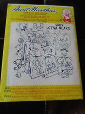 VINTAGE Aunt Martha's IRON-ON Embroidery TRANSFERS - #3809 LOTSA BEARS