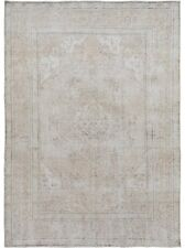 Vintage Muted Floral Tebriz Area Rug Evenly Low Pile Distressed Hand-Made 8x11