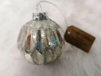 Christbaumkugel Christbaumschmuck antik Bauernsilber Weihnachtsdeko Glas silber