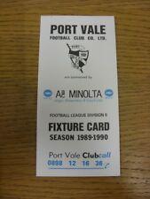1989/1990 Port Vale: Accesorio oficial Folleto-cuatro páginas. gracias por ver T
