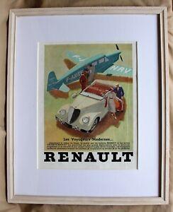 "Original French Framed Renault Poster Featuring ""Les Voyageurs Modernes"" c. 1936"