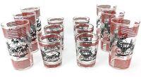 Vintage Set 12 Hazel Atlas Glass Barware Drink Shot Whiskey Black Red Carriage