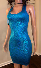 Sexy Blue Holographic Trance Party Club Cocktail  Bodycon Mini Tank Dress S HOT