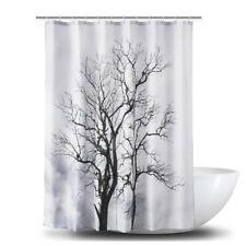 Tree Branch Printed Bathtub Waterproof Shower Curtain Bath Shower Decor Hook LL