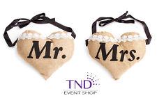 MR & MRS BURLAP CHAIR SIGNS RUSTIC WEDDING CHAIR DECORATION