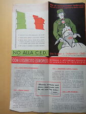 1951-NO AL MILITARISMO TEDESCO!-NO ALLA C.E.D.-POLITICA-VOLANTINO