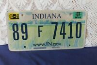"Indiana aluminium Licence plate ""89 F 7410"" www.IN.gov pre-drilled holes"