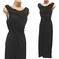 Karen Millen 10 UK Black Jersey Drape Party Wedding Cocktail Long Maxi Dress 38